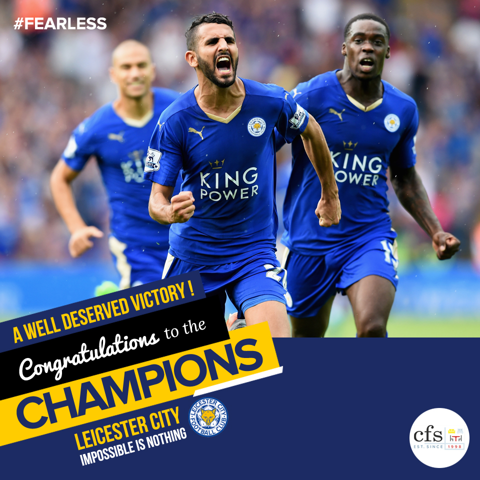 A standing ovation for the Leicester fearless foxes for winning the Premier League Title