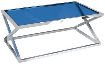 Adora Blue Glass and Chrome Coffee Table