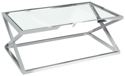Adora Clear Glass and Chrome Coffee Table