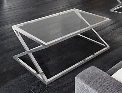 Adora Crystal Glass and Chrome Coffee Table