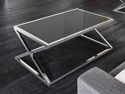 Adora Black Glass and Chrome Coffee Table