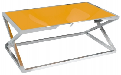 Adora Orange Glass and Chrome Coffee Table