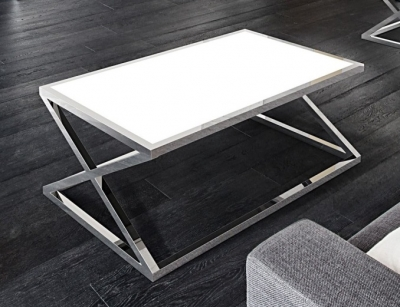 Adora White Glass and Chrome Coffee Table