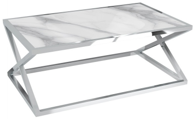 Adora Marble Effect Ceramic and Chrome Coffee Table