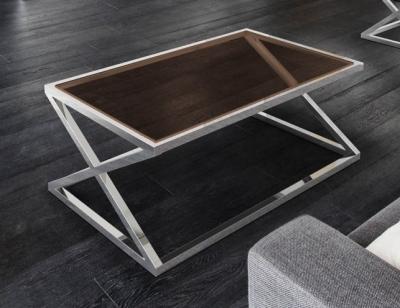 Adora Sepia Glass and Chrome Coffee Table