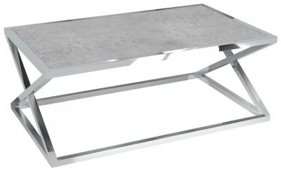 Adora Silver Ceramic and Chrome Coffee Table