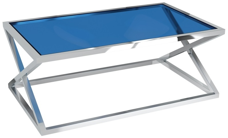 Akante Adora Blue Tinted Glass and Chrome Coffee Table
