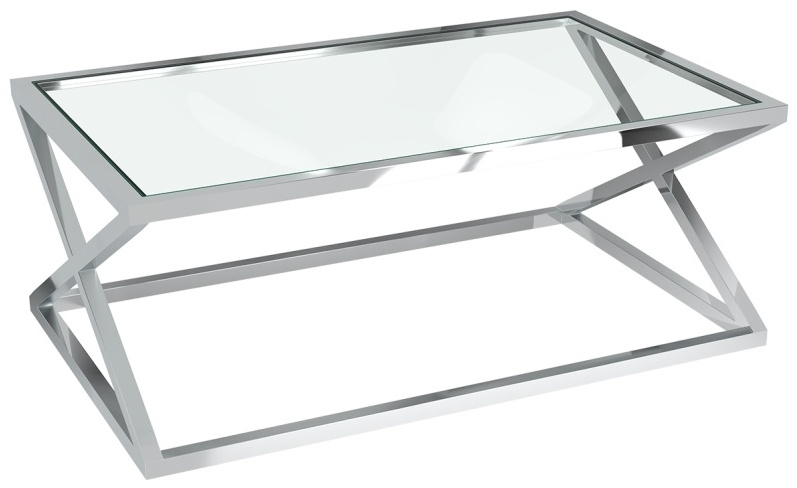 Akante Adora Clear Glass and Chrome Coffee Table