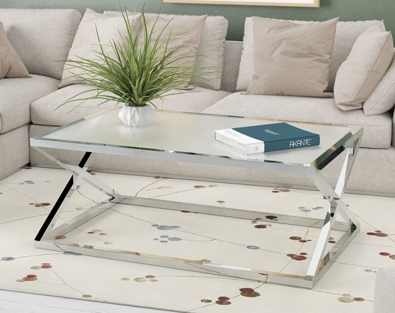 Akante Adora Crystal Acid Etched Glass and Chrome Coffee Table