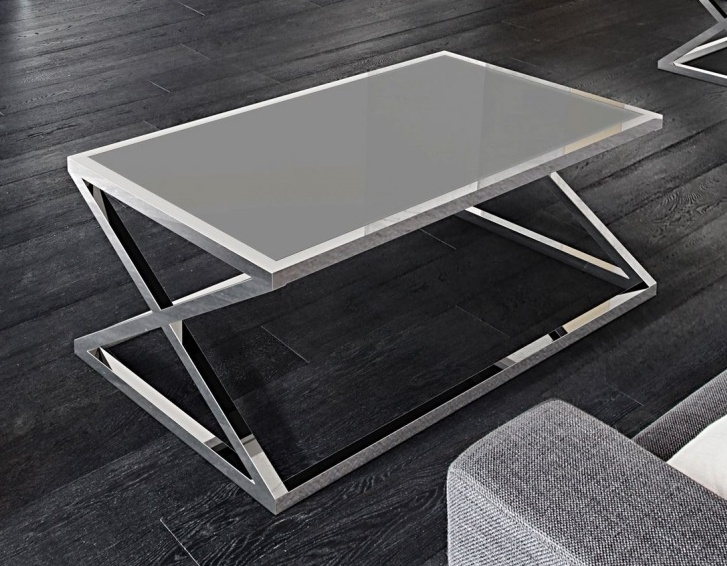 Akante Adora Lacquered Grey Glass and Chrome Coffee Table