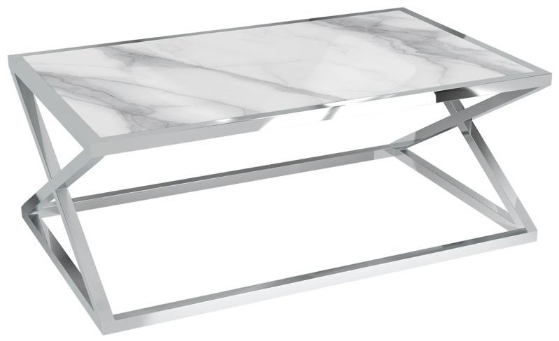 Akante Adora Mat Marble Ceramic and Chrome Coffee Table