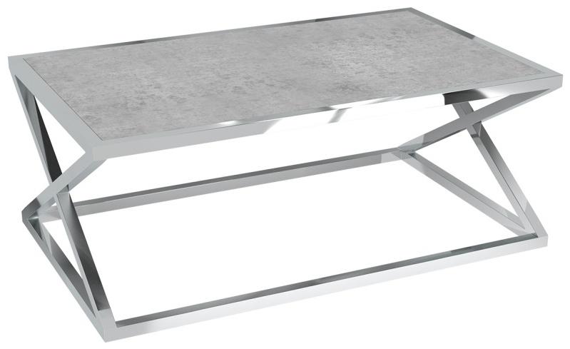 Akante Adora Silver Ceramic and Chrome Coffee Table