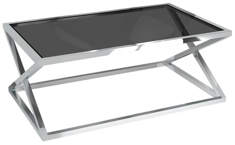 Akante Adora Tinted Grey Glass and Chrome Coffee Table