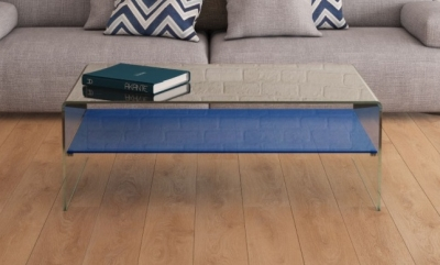 Atena Bent Glass Coffee Table with Blue Glass Shelf