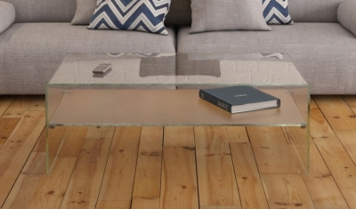 Atena Bent Glass Coffee Table with Frosted Glass Shelf