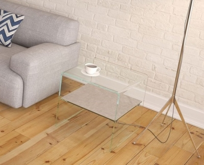 Atena Bent Glass Side Table with Natural Ceramic Shelf