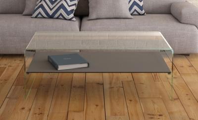 Atena Bent Glass Coffee Table with Grey Ceramic Shelf