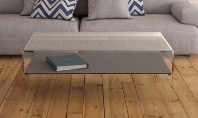 Atena Bent Glass Coffee Table with Light Grey Glass Shelf