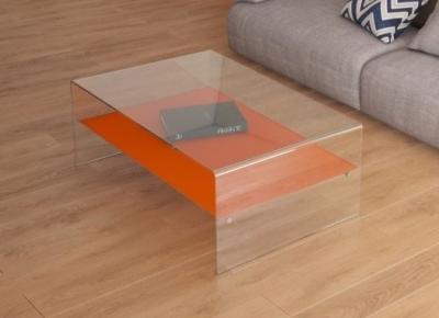 Atena Bent Glass Coffee Table with Orange Glass Shelf