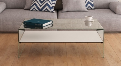 Atena Bent Glass Coffee Table with White Glass Shelf