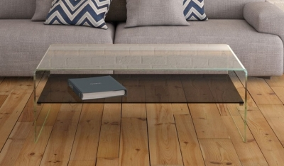 Atena Bent Glass Coffee Table with Grey Glass Shelf