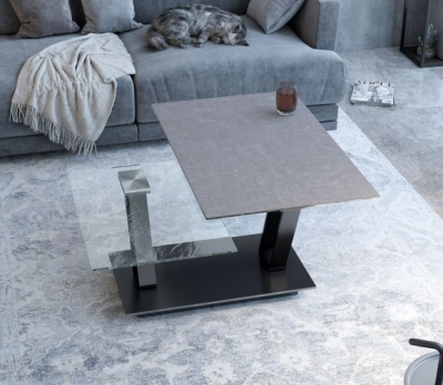 Barcelona Natural Ceramic and Glass Wing Coffee Table