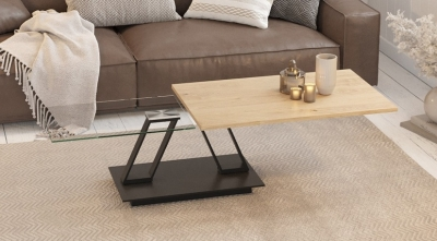 Barcelona Oak and Glass Wing Coffee Table