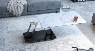 Barcelona Roulette Marble Effect Ceramic and Glass Wing Coffee Table