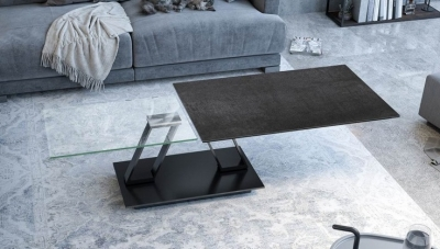 Barcelona Roulette Titanium Ceramic and Glass Wing Coffee Table