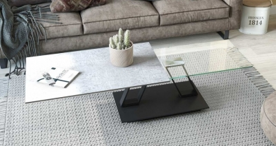 Barcelona Silver Ceramic and Glass Wing Coffee Table