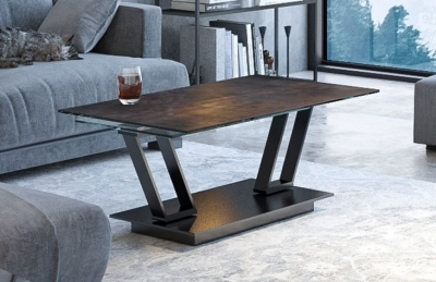Barcelona Steel Ceramic and Glass Wing Coffee Table