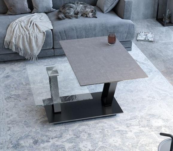 Akante Barcelona Argile Ceramic and Black Coffee Table