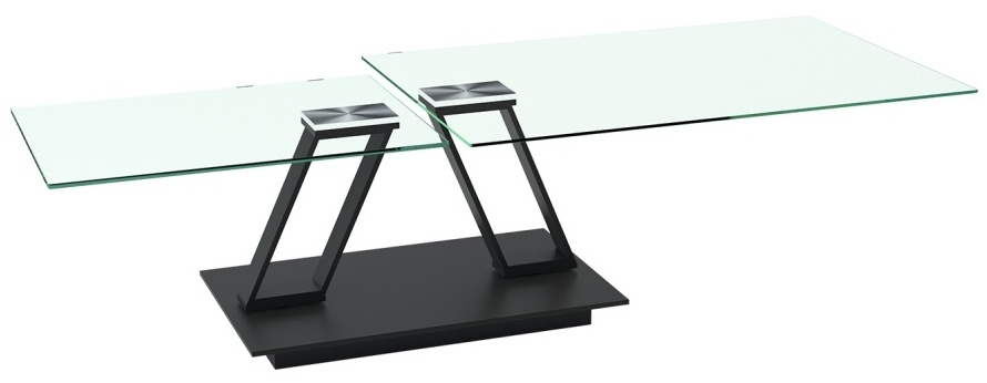 Akante Barcelona Clear Glass and Black Coffee Table