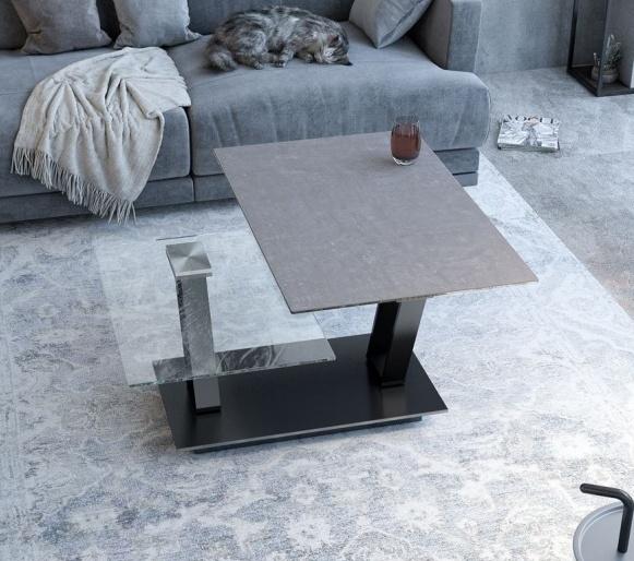 Akante Barcelona Roulette Argile Ceramic and Black Coffee Table