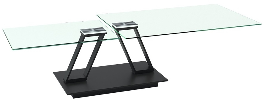 Akante Barcelona Roulette Clear Glass and Black Coffee Table