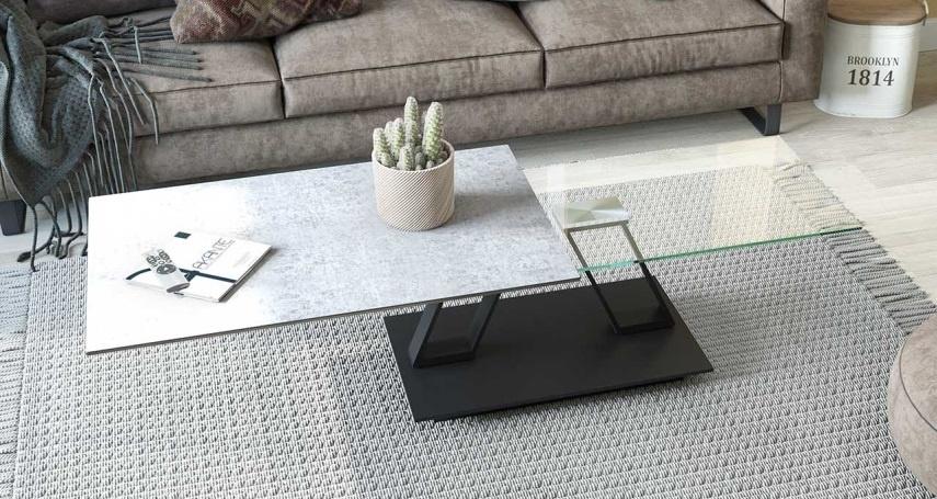 Akante Barcelona Roulette Silver Ceramic and Black Coffee Table