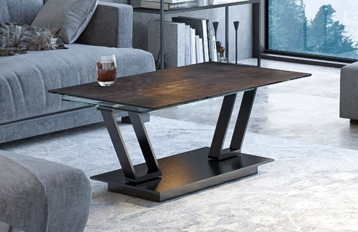 Akante Barcelona Steel Ceramic and Black Coffee Table