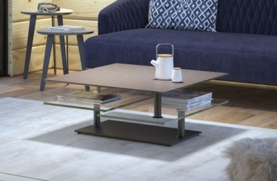 Natural Ceramic Top Multi Level Swivel Coffee Table