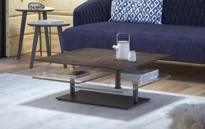 Steel Ceramic Top Multi Level Swivel Coffee Table
