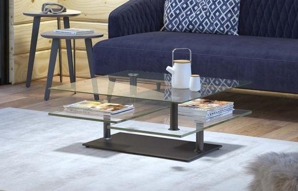 Clear Glass Multi Level Swivel Coffee Table