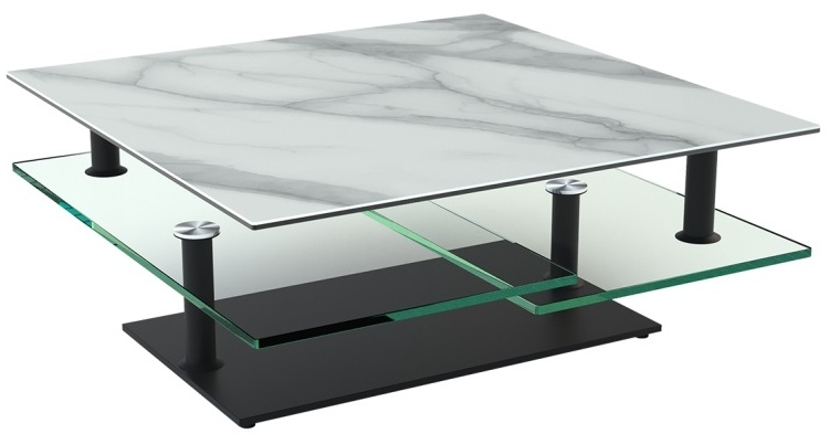 Marble Effect Ceramic Top Multi Level Swivel Coffee Table