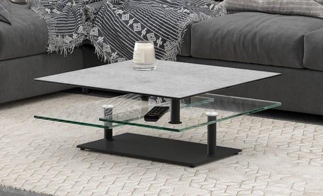 Silver Ceramic Top Multi Level Swivel Coffee Table