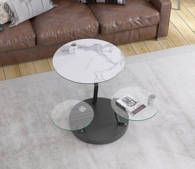 Boussole Marble Effect Ceramic and Glass Multi Level Swivel Coffee Table