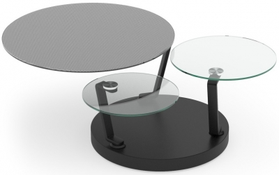 Boussole Mesh and Glass Multi Level Swivel Coffee Table