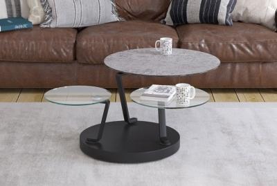 Boussole Silver Ceramic and Glass Multi Level Swivel Coffee Table