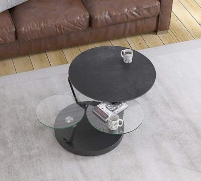 Boussole Titanium Ceramic and Glass Multi Level Swivel Coffee Table