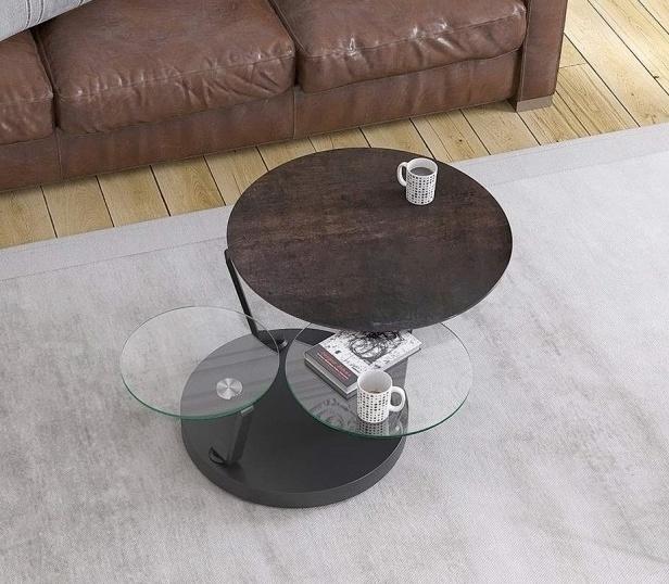 Boussole Steel Ceramic and Glass Multi Level Swivel Coffee Table