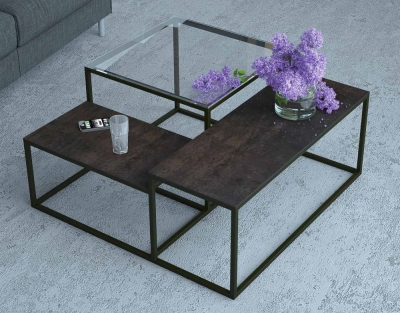 Brasilia Glass and Steel Ceramic Top Multi Level Coffee Table