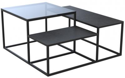 Brasilia Grey Glass and Titanium Ceramic Top Multi Level Coffee Table