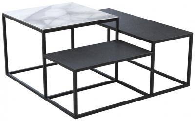 Brasilia Marble Effect and Titanium Ceramic Top Multi Level Coffee Table